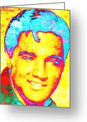 Elvis Presley Art Greeting Cards - Elvis 2 Greeting Card by Juan Jose Espinoza