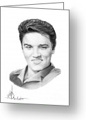 (murphy Elliott) Drawings Greeting Cards - Elvis Aaron Presley Greeting Card by Murphy Elliott