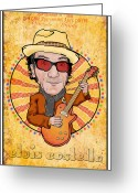 Paul Mccartney Greeting Cards - Elvis Costello Greeting Card by John Goldacker