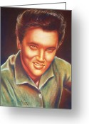 Male Pastels Greeting Cards - Elvis In Color Greeting Card by Anastasis  Anastasi