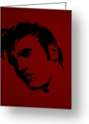Playing The Guitar Greeting Cards - Elvis In Red Satin Greeting Card by Robert Margetts