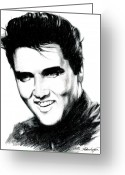White Drawings Greeting Cards - Elvis Greeting Card by Lin Petershagen