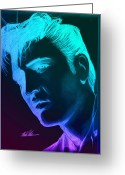 Photorealism Greeting Cards - Elvis Neon Greeting Card by Michael Mestas