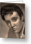 Graphite Mixed Media Greeting Cards - Elvis Presley Greeting Card by Consuelo Venturi