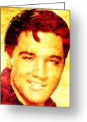 Elvis Presley Art Greeting Cards - Elvis Presley Greeting Card by Juan Jose Espinoza