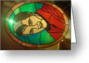Music Glass Art Greeting Cards - Elvis Presley Greeting Card by Robin Jeffcoate