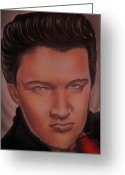 Music Sculpture Greeting Cards - Elvis Presley Greeting Card by Terrence ONeal