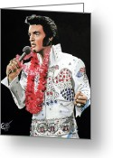 Elvis Greeting Cards - Elvis Greeting Card by Tom Carlton