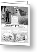 Great Mixed Media Greeting Cards - Emancipation Proclamation Greeting Card by War Is Hell Store