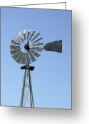 Western Sky Greeting Cards - Embossed Windmill Greeting Card by Linda Phelps