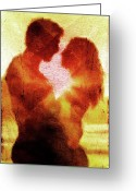 Lovers Digital Art Greeting Cards - Embrace Greeting Card by Andrea Barbieri