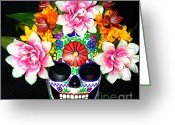 Day Sculpture Greeting Cards - Embroidery Sugar Skull Mask Greeting Card by Mitza Hurst