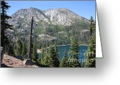 Bays Greeting Cards - Emerald Bay with Mountain Greeting Card by Carol Groenen