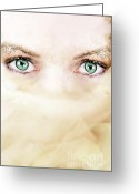 Lashes Greeting Cards - Emerald Greeting Card by Stephanie Frey