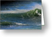 Waves Pyrography Greeting Cards - Emerald Surf 5 Greeting Card by Thomas Theroux