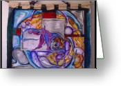 Dancing Tapestries - Textiles Greeting Cards - Emergence Greeting Card by Carol Rashawnna Williams