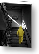 Stairs Greeting Cards - Emergency Gathering Area Greeting Card by Bob Orsillo