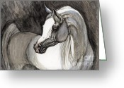 Grey Drawings Greeting Cards - Emerging From The Darkness Greeting Card by Angel  Tarantella