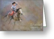 Quarter Horses Greeting Cards - Emerging Greeting Card by Susan Candelario