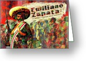 Computer Art And Digital Art Greeting Cards - Emiliano Zapata Inmortal Greeting Card by Dean Gleisberg