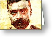 Zapata Greeting Cards - Emiliano Zapata Greeting Card by Juan Jose Espinoza