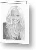 Miami Drawings Greeting Cards - Emily Procter CSI Miami Greeting Card by David Seter
