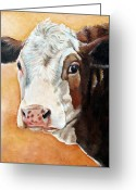 Cow Greeting Cards - Emma Greeting Card by Laura Carey
