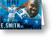 Dallas Cowboys Painting Greeting Cards - Emmit Smith HOF Greeting Card by Jim Wetherington