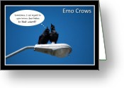 Humour Digital Art Greeting Cards - Emo Crows Greeting Card by Lisa Knechtel