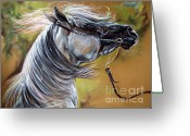 Horse Portrait Pastels Greeting Cards - Emon Greeting Card by Angel  Tarantella