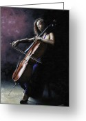 Seated Greeting Cards - Emotional Cellist Greeting Card by Richard Young