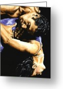 Dancers Greeting Cards - Emotional Tango Greeting Card by Richard Young