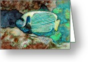 Sea Creature Greeting Cards - Emperor Angelfish  Greeting Card by Arline Wagner