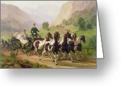 Coaching Greeting Cards - Emperor Franz Joseph I of Austria being driven in his carriage with his wife Elizabeth of Bavaria I Greeting Card by Austrian School