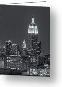 Black And White Greeting Cards - Empire State and Chrysler Buildings at Twilight II Greeting Card by Clarence Holmes