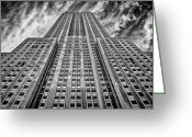 Long Street Photo Greeting Cards - Empire State Building Black and White Greeting Card by John Farnan