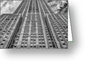 Long Street Photo Greeting Cards - Empire State Building Black and White Square Format Greeting Card by John Farnan