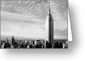 The Capital Of The World Greeting Cards - Empire State Building BW16 Greeting Card by Scott Kelley