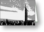 The Capital Of The World Greeting Cards - Empire State Building BW3 Greeting Card by Scott Kelley