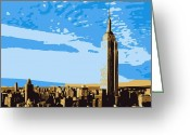 The Capital Of The World Greeting Cards - Empire State Building Color 6 Greeting Card by Scott Kelley