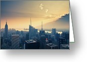 New York State Greeting Cards - Empire State Building From Top Of Rock Greeting Card by Ryan D. Budhu