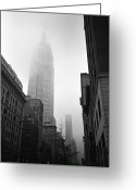 Manhattan Greeting Cards - Empire State Building In Fog Greeting Card by Adam Garelick