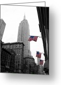America United States Greeting Cards - Empire State Building in the mist Greeting Card by John Farnan