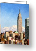 Above The Clouds Greeting Cards - Empire State Building Greeting Card by Joe Bergholm