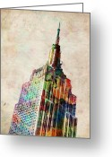 Urban Watercolour Greeting Cards - Empire State Building Greeting Card by Michael Tompsett