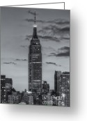 Building Tapestries Textiles Greeting Cards - Empire State Building Morning Twilight IV Greeting Card by Clarence Holmes