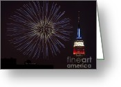 4th Greeting Cards - Empire State Fireworks Greeting Card by Susan Candelario