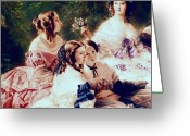 1855 Greeting Cards - Empress Eugenie and her Ladies in Waiting Greeting Card by Franz Xaver Winterhalter