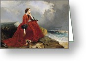 Contemplative Painting Greeting Cards - Empress Eugenie Greeting Card by E Defonds