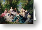 White Dress Greeting Cards - Empress Eugenie Surrounded by her Ladies in Waiting Greeting Card by Franz Xaver Winterhalter
